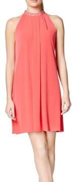 Calvin Klein Women's Rhinestone Halter Trapeze Jersey Dress