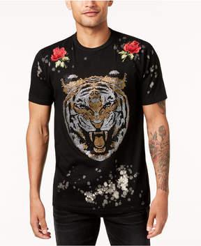 Reason Men's Primal Rose-Applique Rhinestone-Tiger T-Shirt