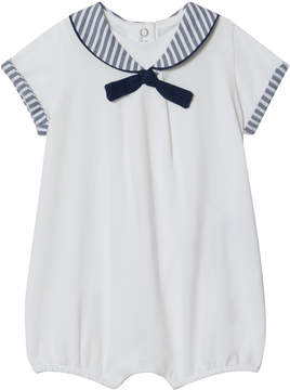 Mayoral White and Navy Striped Sailor Collar Romper