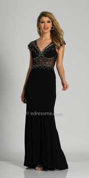 Dave and Johnny Cap Sleeve Beaded Open Back Column Evening Dress