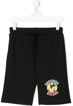 Moschino Kids wolf logo shorts
