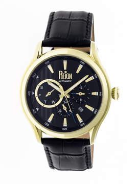Reign Gustaf Multi-Function Black Engraved Dial Black Leather Strap Men's Watch