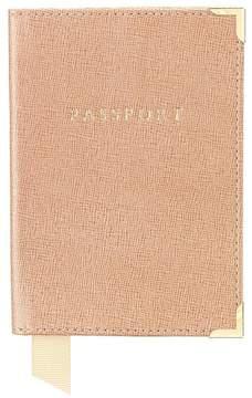 Aspinal of London | Passport Cover In Deer Saffiano Cappuccino Suede | Deer saffiano cappuccino suede