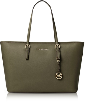 Michael Kors Jet Set Travel Medium Olive Saffiano Leather Top-Zip Tote - OLIVE - STYLE
