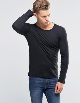 Benetton Long Sleeve Slub Neck T-Shirt