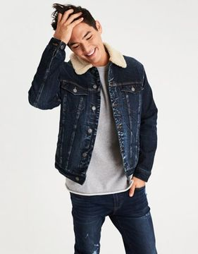 American Eagle Outfitters AE Faux Sherpa Lined Denim Jacket