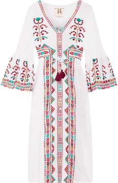 Figue Minette Embroidered Cotton-voile Midi Dress - White
