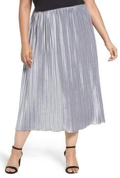 Sejour Pleat Velour Midi Skirt (Plus Size)