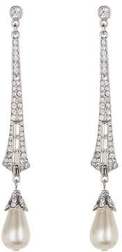 Ben-Amun Pave Crystal Faux Pearl Deco Drop Earrings