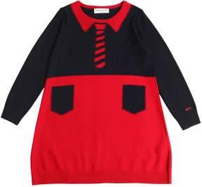 Sonia Rykiel Two Tone Wool Blend Knit Dress