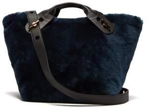 Sophie Hulme Bolt Shearling Tote Bag - Womens - Black Blue