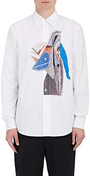 Marni Men's Artist-Collage-Print Cotton Poplin Shirt