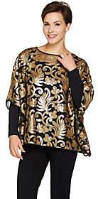 Bob Mackie Bob Mackie's Sequin Floral Caftan & Long SleeveKnit Top Set