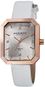 Akribos XXIV Silver Dial Rose Gold-tone Alloy Ladies Watch