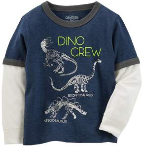 Osh Kosh Oshkosh Bgosh Toddler Boy Dino Crew Dinosaur Mock-Layered Graphic Tee