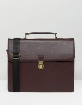 Asos Leather Satchel In Brown