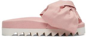 Joshua Sanders Pink Denim Bow Slide Sandals