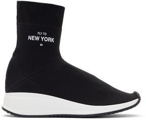 Joshua Sanders Black Fly To New York Sock High-Top Sneakers