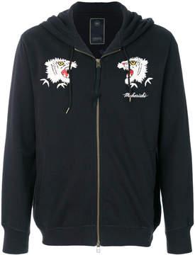 MHI tiger embroidered zipped sweatshirt