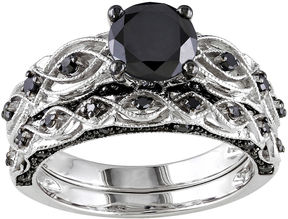 Black Diamond MODERN BRIDE Midnight 1 3/8 CT. T.W. Color-Enhanced 10K White Gold Bridal Set