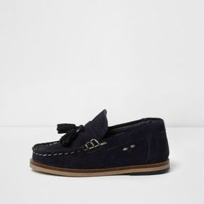 River Island Mini boys dark navy suede tassel loafers