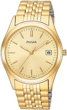 Pulsar Mens Dress Gold-Tone Watch PXH450