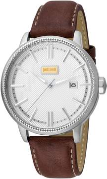 Just Cavalli Men's Silver-Tone Dial Date Watch, 42mm