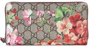 Gucci Blooms Gg Supreme Zip Around Wallet - PINK - STYLE