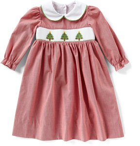 Edgehill Collection Little Girls 2T-4T Christmas Tree Smocked Dress
