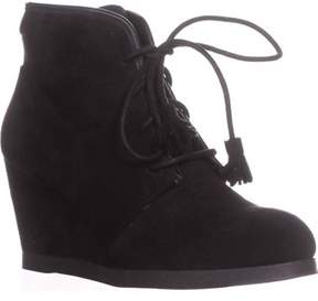 Madden-Girl Dallyy Lace Up Wedge Ankle Booties, Black.