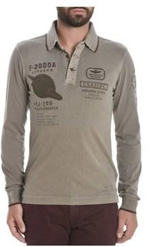 Aeronautica Militare Men's Beige Cotton Polo Shirt.