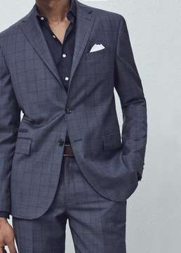 Mango Outlet Check wool suit blazer