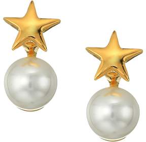 Kenneth Jay Lane Polished Gold Star Top and White Pearl Bottom Post Earrings Earring