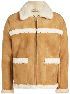 A.P.C. Suede Jacket with Shearling Trims