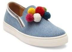 Aquazzura Mini Kid's Mini Pom-Pom Denim Skate Sneakers