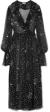 Ashish Ruffled Sequined Chiffon Wrap Dress - Black