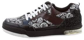Kenzo Logo Print Leather Sneakers