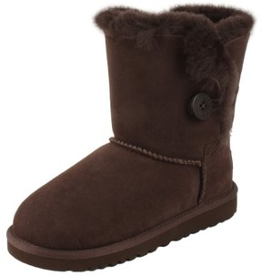UGG K Bailey Button Youth US 5 Brown Snow Boot