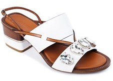 Roberto Cavalli Women's White Embellished Crystal Sandals.