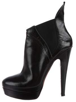 Alaia Leather Platform Ankle Boots