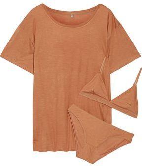 Base Range Baserange Bamboo-Jersey T-Shirt Soft-Cup Bra And Briefs Set