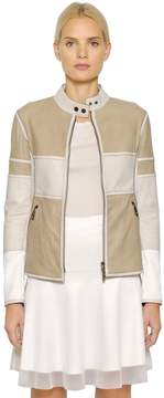 Callens Nubuck & Perforated Leather Biker Jacket