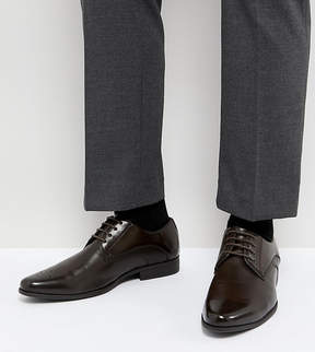 Asos Wide Fit Derby Brogue Shoes In Brown Faux Leather