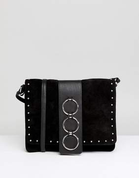 Asos DESIGN Leather and Suede Ring Detail Soft Cross Body Bag