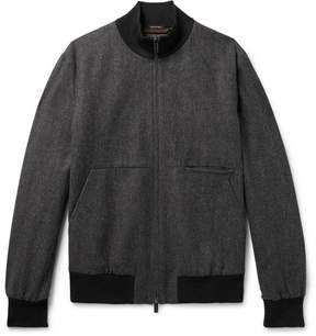Ermenegildo Zegna Herringbone Wool And Cashmere-Blend Bomber Jacket