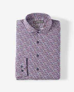 Express Classic Small Floral Print Dress Shirt