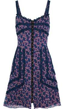 Anna Sui Lace-Trimmed Floral-Print Silk-Georgette Mini Dress