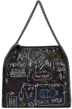 Stella McCartney Black Small Writing Falabella Tote