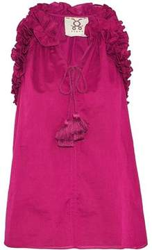 Figue Ruffle-Trimmed Tasseled Cotton-Poplin Top