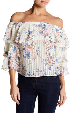 Flying Tomato Ruffle Floral Off-the-Shoulder Blouse